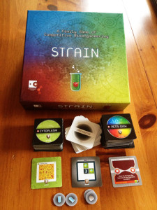Strain game box with tiles and components