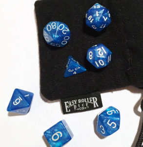 shiny blue dice with varying side counts d10, d20, etc