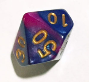 d50 dice Purple and blue swirl