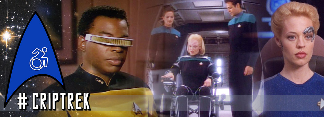 #CripTrek header, logo on a star background, images of Geordi, 7 or 9, and Melora