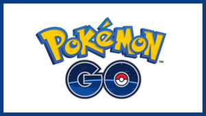 Pokemon Go logo with yellow letters and a pokeball in the O