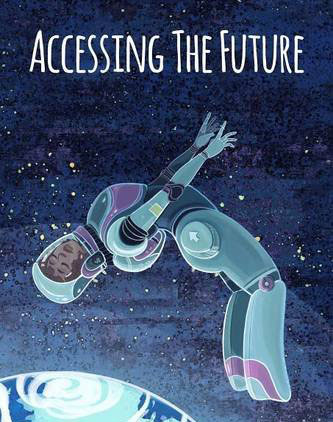 Accessing the Future cover, woman in spacesuit spinning in space