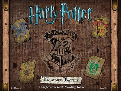 Cover of Harry Potter game, looks like old luggage with the four house signs on it