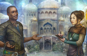 A black man and an asian woman talking in front of a large, dreamlike castle
