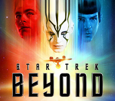StaR Trek Beyond poster showing Kirk, Spock, and in rainbow colors
