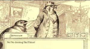 Aviary Attorney screen grab, two birds drawn in 19th century style