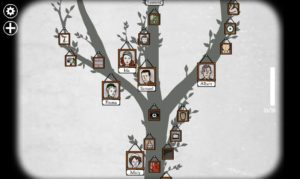 Rusty Lake screenshot, the family tree with small pictures of family nailed to it