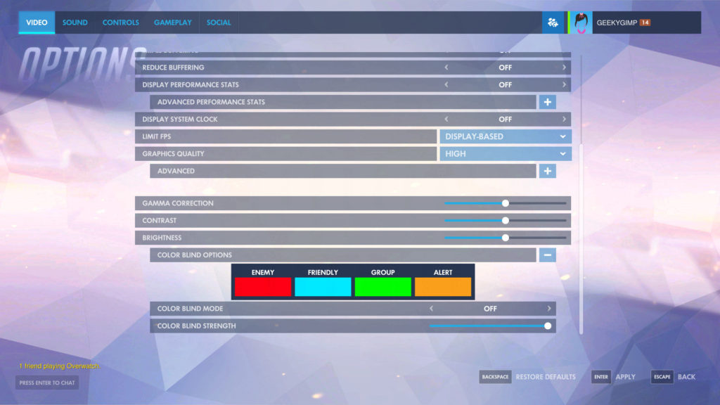 Accessibility options screen, showing color blind options and screen resolutions etc