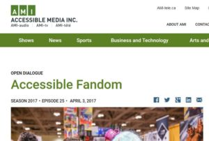 Screenshot of the AMI audio website with a header titled Accessible Fandom
