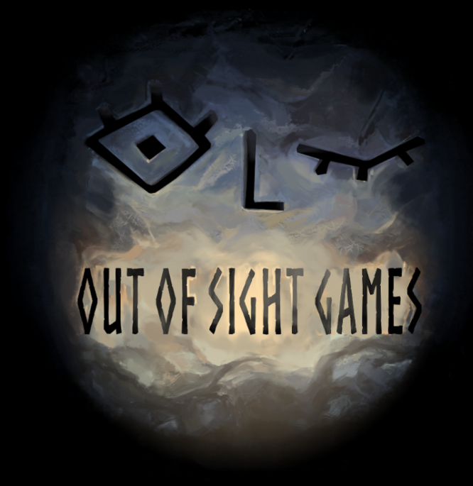 "A round logo with the ""Out of Sight Games"" written in rune-like lettering"