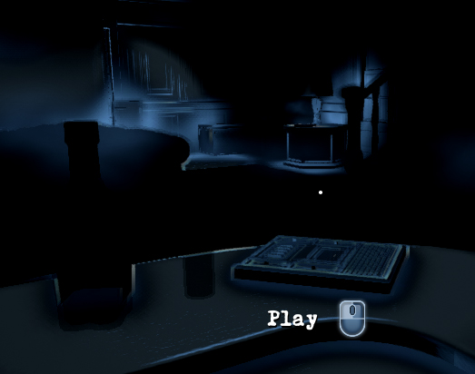 "A mostly dark room with blue outline of a bar and a tape recorder on it. Text reads ""Play"""