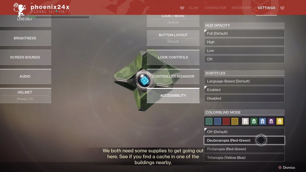 Destiny 2 Menu with subtitle options, color blind options, and movement options