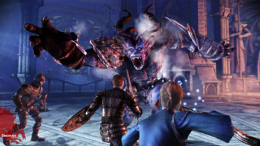 Screenshot from Dragon Age Origins, where two armored people wield a sword at a large monster showing his teeth