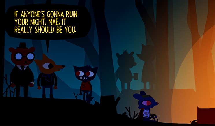 """Screenshot of the game. Various animals dressed up like people. One animal says to the other """"If anyone's going to ruin your night, Mae, it should be you"""""""