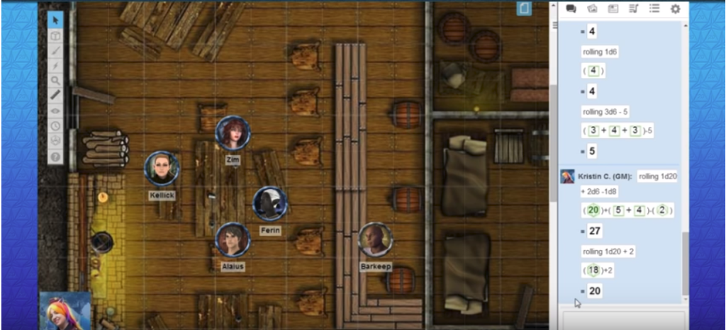 A screenshot of the Roll20 interface featuring a map, character avatars, and dice rolls in the chat window.