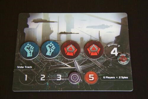 Close up of The Resistance board, where there are two blue fist resistance tokens and two red circular tokens.