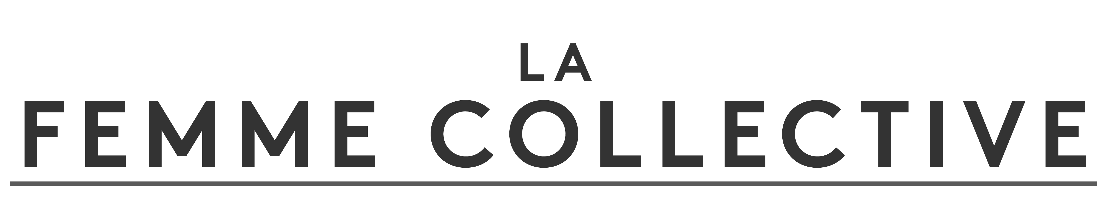 words in plain text, sans-serif, La Femme Collective