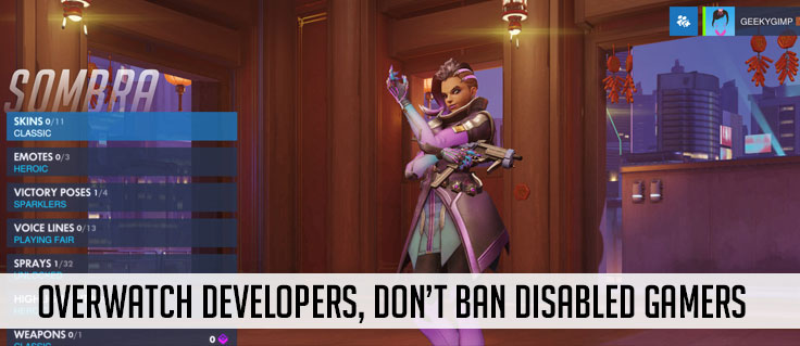 Overwatch Developers, Don't Ban Disabled Gamers text over an image of Sombra character page, a cartoon woman in neon clothes