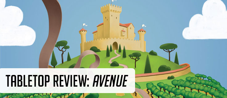Tabletop Review: Avenue with a cartoon castle in the background and a blue sky