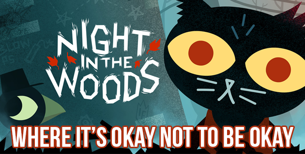 Night in the Woods: Where it's OK to not be OK. A cartoon cat image with big, yellow eyes